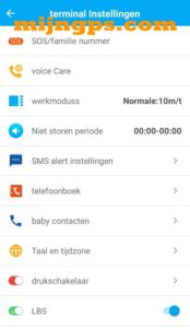 SeTracker settings menu instellingen