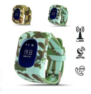 Q50 Camo kids smart watch GPS Horloge kind SOS OLED v2 2019 Groen